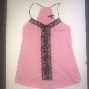 Express Barcelona Tank. Size XS. Pink w/black lace